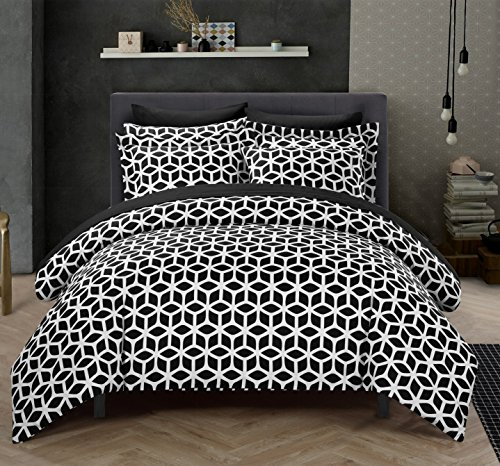Chic Home 3 Piece Cyril Geometric Diamond Printed reversible Queen Duvet-Cover-sets Black