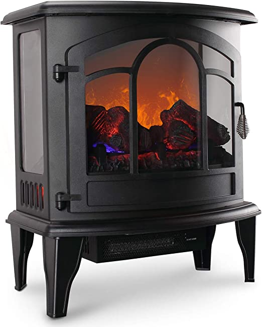 Amazon Com Della 1400w Electric Stove Heater Portable Fireplace 20 Freestanding Indoor Living Room Flame Log Wood W Remote Control Home Kitchen