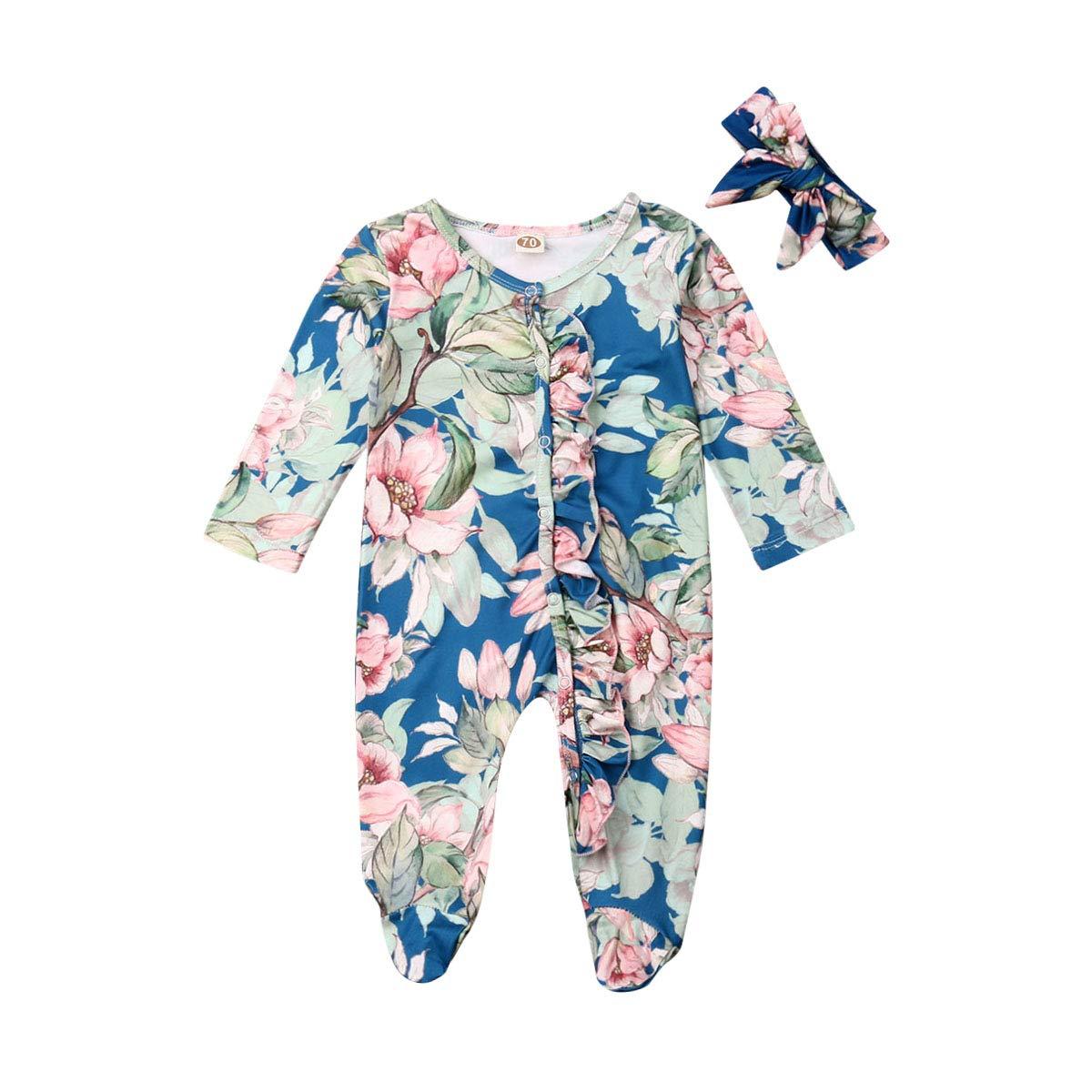 Baby Printed Footed Pajamas Headband Newborn Unisex Boys Girls Cotton Sleeper Long Sleeve Jumpsuit Set 2Pcs