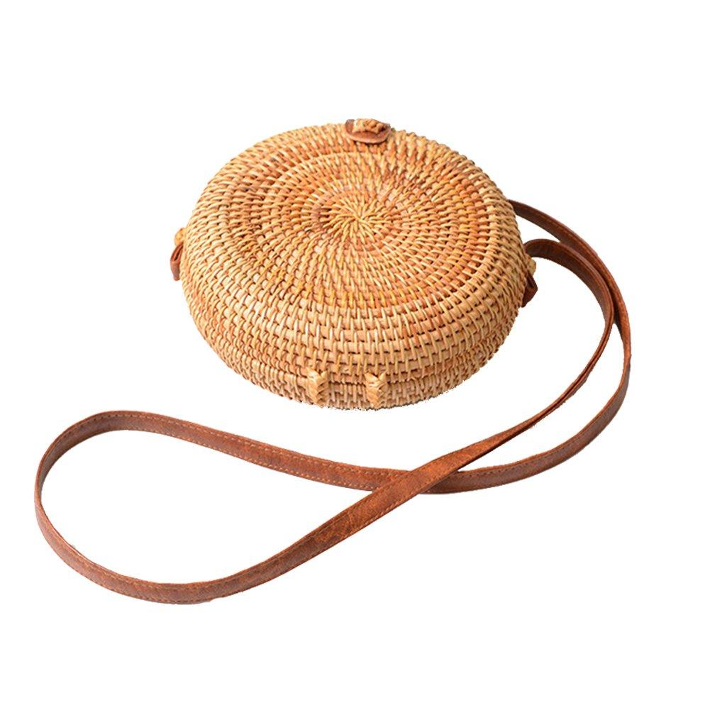 Girl's Shoulder Bag Female Summer Beach Holiday Straw Handbag Rattan Circle Satchel Bags for Women