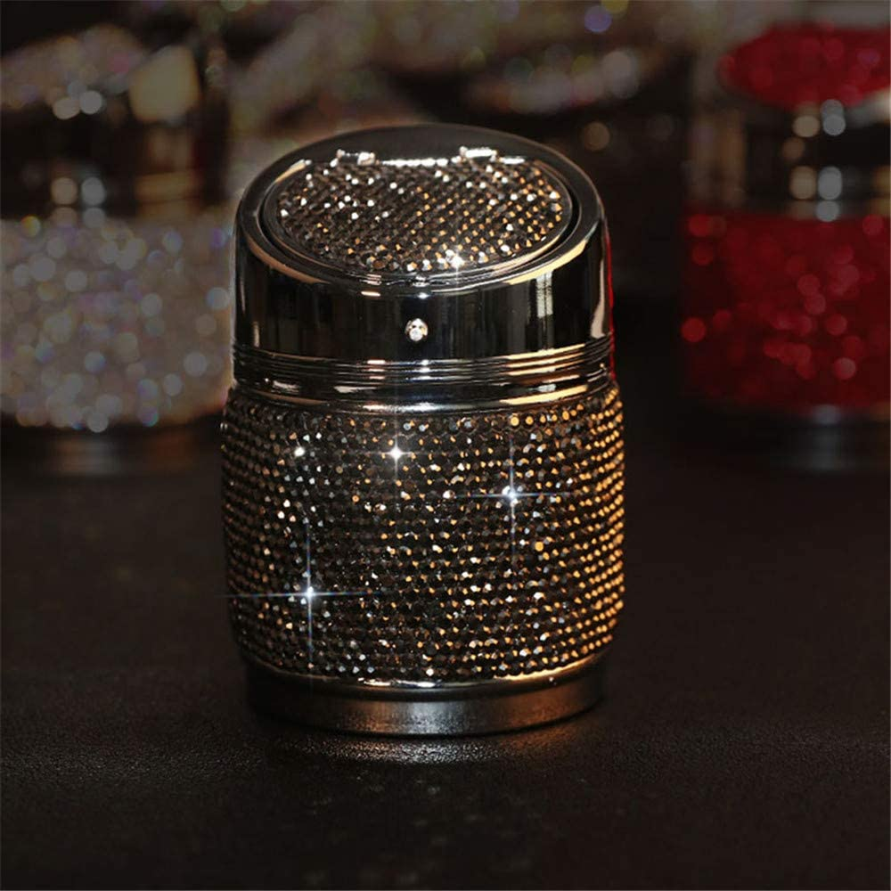 Ajboy Car Ashtray Crystal Shiny Auto Ashtray with Cover for Car Great Gift for Women Girls Pink White Gold Color
