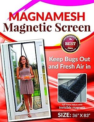 """MagnaMesh Magnetic Screen Door - Heavy Duty Door Screens With Magnets Fits Doors 34"""" X 82"""", Hidden Magnets, Easy To Install, Bug Proof"""