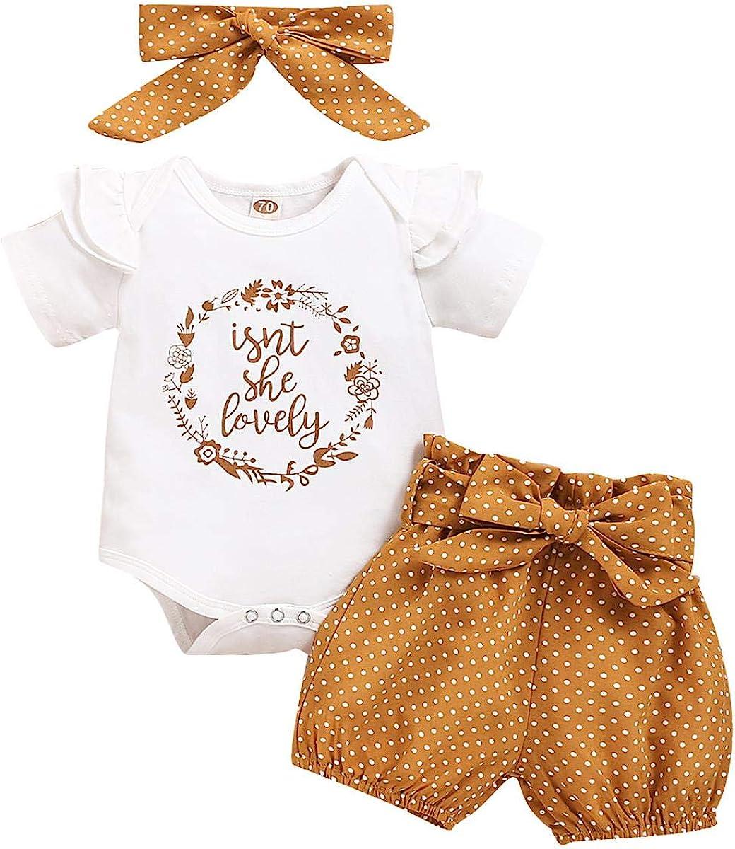 ODASDO Newborn Baby Girl Coming Home Outfit Ruffle Romper Shorts Bowknot Headband 3pcs Summer Casual Clothes Set 0-18M