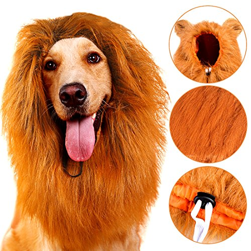 Inexpensive Costumes (Lion Mane for Dog, Lion Mane Costume Big Dog Lion Mane Wigs Fancy Dress Clothes Dog Apparel for Halloween Party-Large Dog Costumes)