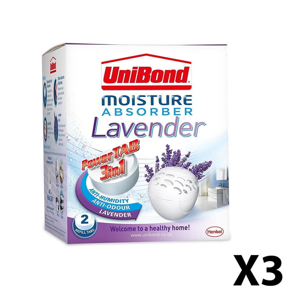 3X UniBond 2008301 Bubble Fresh Moisture Absorber Scented Refills - Lavender
