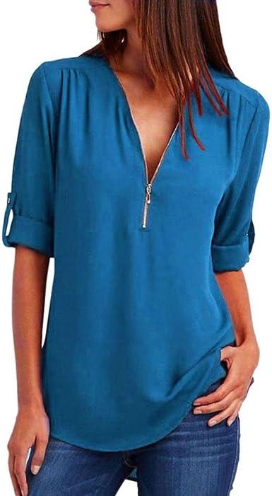 Lenfesh Camiseta de Gasa para Mujer, Sexy Atractiva Cuello V Mangas Medias Camisas Tops Blusas Blusa con Cremallera Escote: Amazon.es: Ropa y accesorios