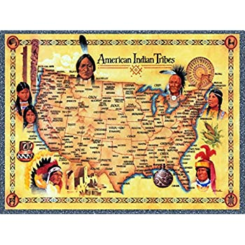 Amazoncom American Indian Tribes United States Map Art Print