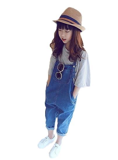 153a42d1239f1 BAJIAN キッズ服 ガールズ 女の子 子供 オーバーオール サロペット ズボンつり サスペンダーズボン ズボン フィットスタイル ブルー 100cm