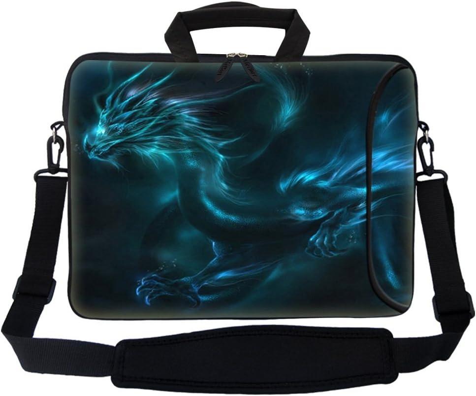 "Meffort Inc 15 15.6 inch Neoprene Laptop Bag Sleeve with Extra Side Pocket, Soft Carrying Handle & Removable Shoulder Strap for 14"" to 15.6"" Size Notebook Computer (Blue Dragon Design)"
