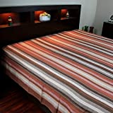India Arts Hand loom 100% Cotton Striped Tapestry Tablecloth Throw Thin Bedspread (Full, Brown)