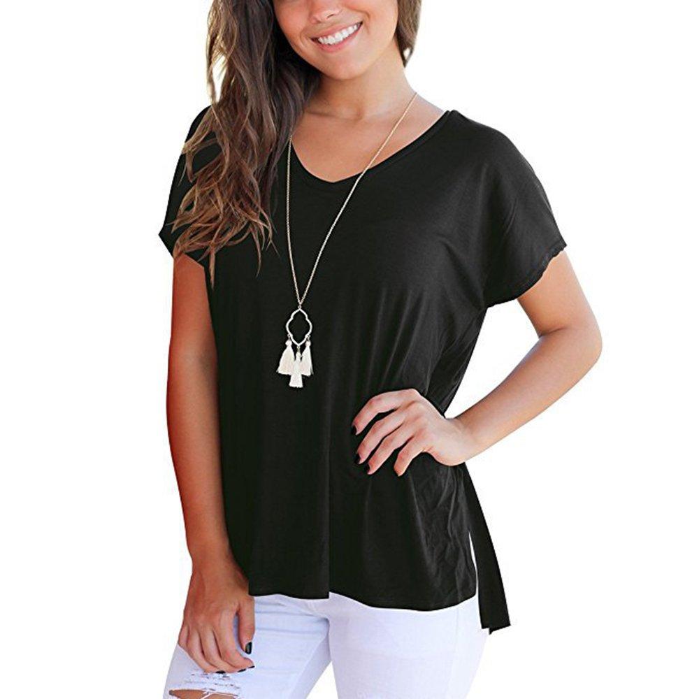 fcb816f18ea3 Youthny T-shirt Lâche d été Fentes Latérales Col en V Court Devant Long  Derrière pour Femmes  Amazon.fr  Vêtements et accessoires