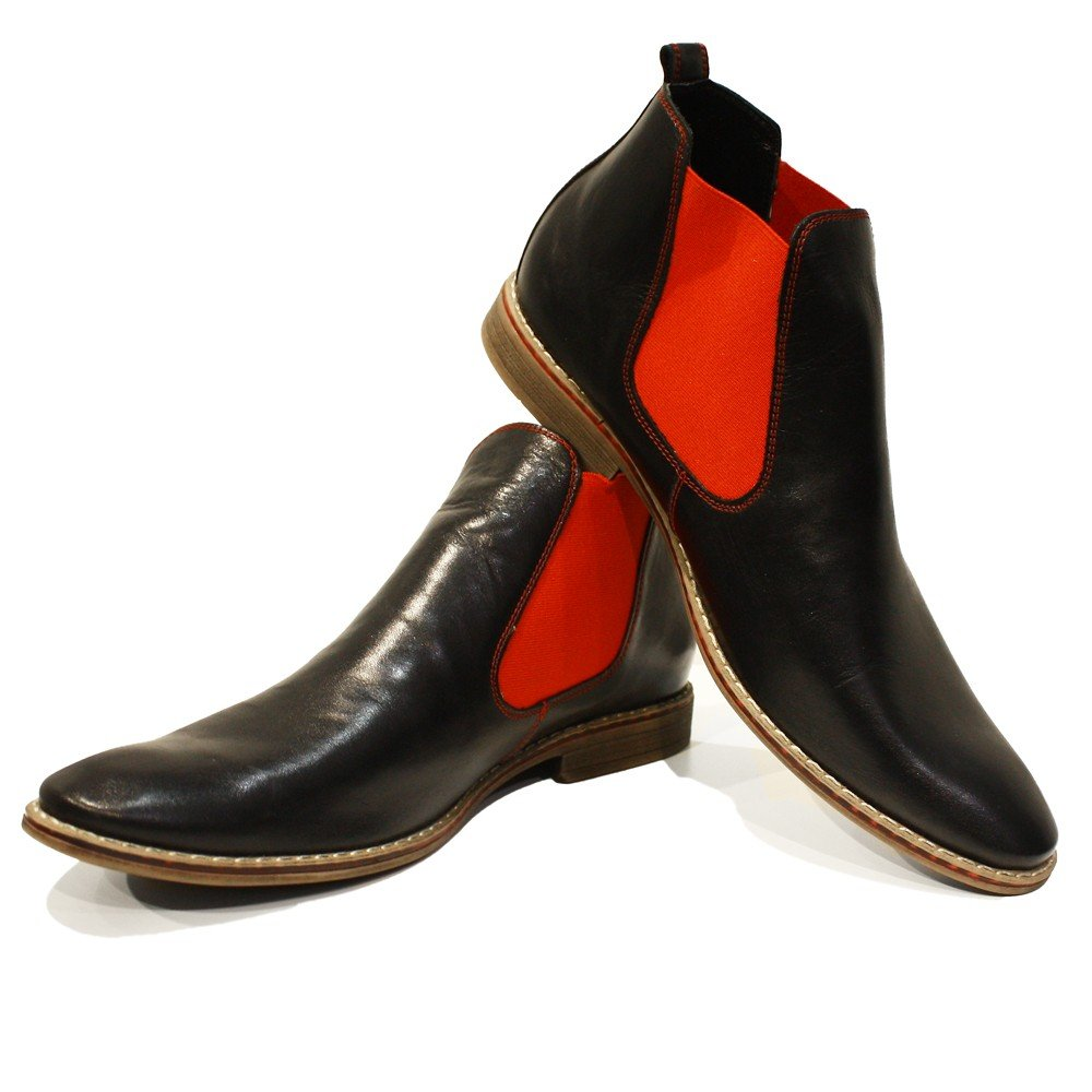Cowhide Smooth Leather Modello Lamano Handmade Italian Mens Color Red Ankle Chelsea Boots Slip-On