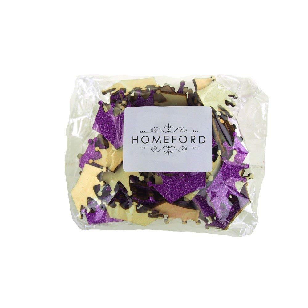 Homeford FCF00000WPG1PURP Glitter Wood Favors, 1-1/2'', Purple