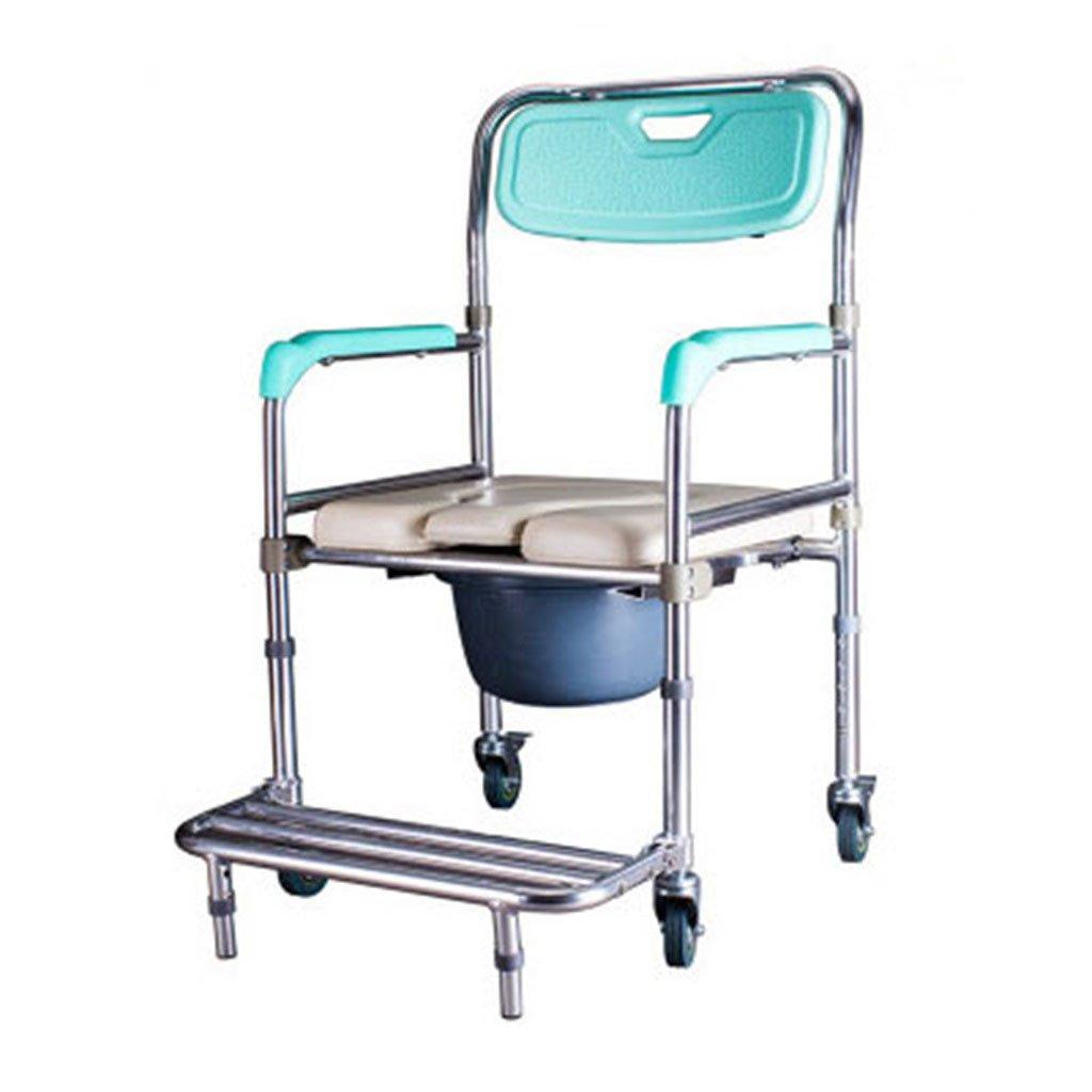 ノンスリップ強く安定した便座チェアトイレシートリムーバブルペダルバスルーム折りたたみシャワースツール高齢者/妊婦/障害者トイレチェアベルトホイールMax.150kg B07DKVSXGS