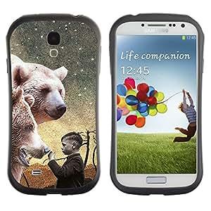 Fuerte Suave TPU GEL Caso Carcasa de Protección Funda para Samsung Galaxy S4 I9500 / Business Style Polar Bear White Night Painting Boy