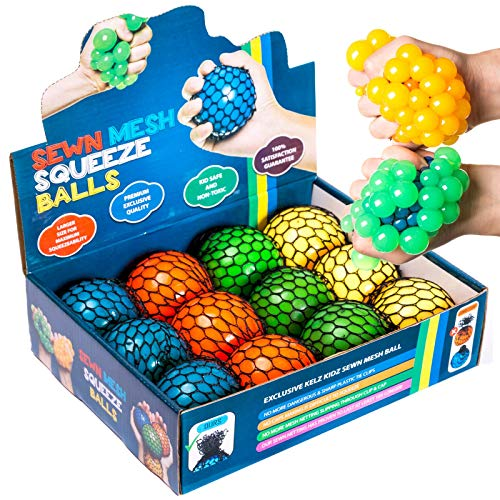 Squeeze Ball - KELZ KIDZ Quality & Durable Large (2.9 Inch) Mesh Squishy Balls with Exclusive Sewn Mesh! (Multi, 12 Pack)