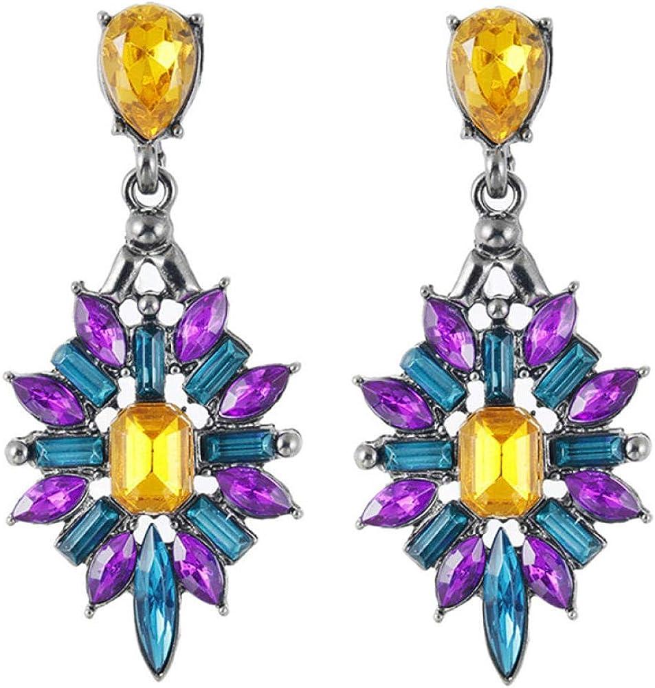 Erin Moda Lady Rhinestone Pendientes Oro/Rosa Resina Cristal Azul Dulce Metal Con Pendientes De Piedras Preciosas Para Mujer