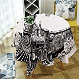 Round Tablecloth Rustic Old Train in Country Locomotive Wooden Wagons Rail Road with Smoke for Thanksgiving Catering Events Dinner Parties Special Occasions or Everyday Use 55 Black and White
