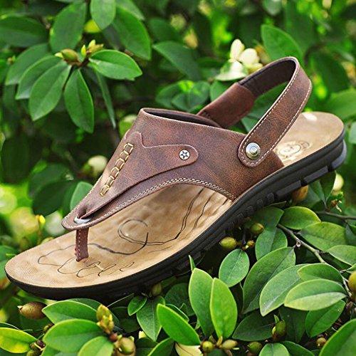 8 casual in morbida in clip Sandali suola pelle UK7 5 EU41 Colore pelle dimensioni vera estate Marrone scarpe toe CJC traspirante scarpe Nero 8XXvr1qw