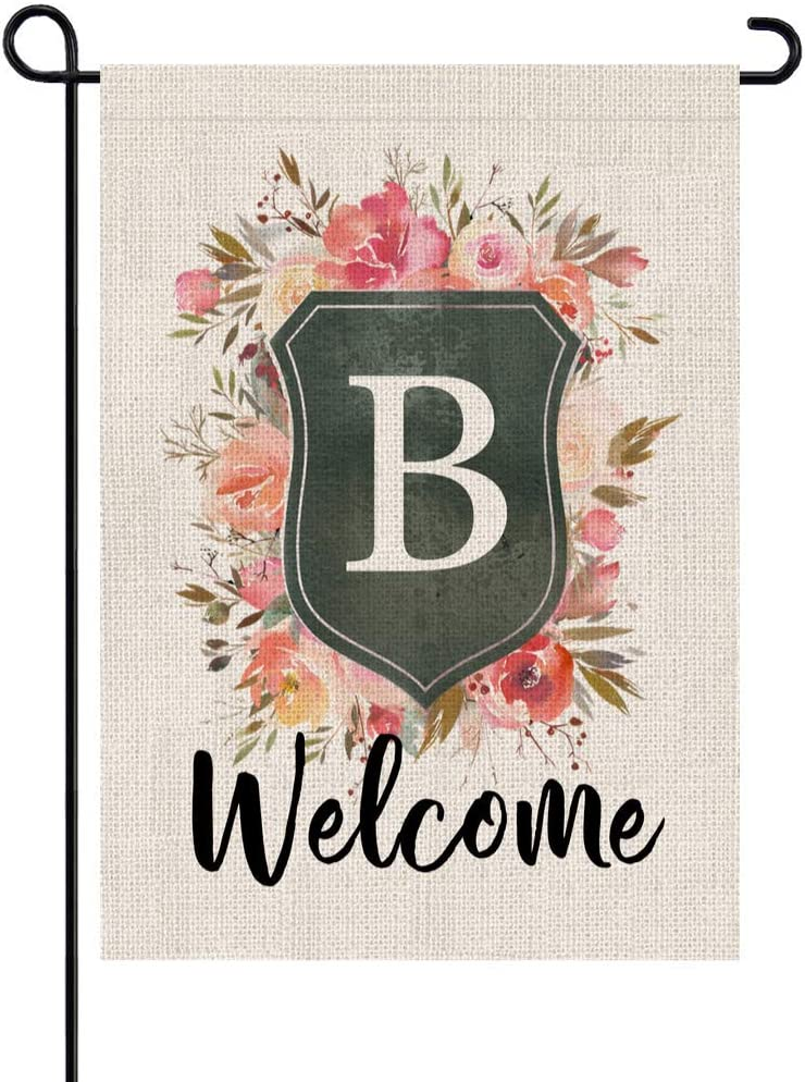 PARTY BUZZ Rose and Shield B Monogram Burlap Garden Flag, Small Mini Welcome Outdoor Yard Lawn Decorative Flag (12x18, Double Sided) Initial Letter Banner Decor