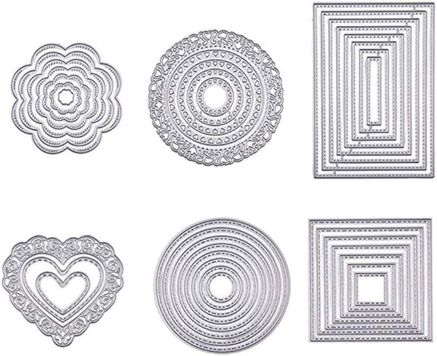 6 Sets Dies for Card Making, Cutting Dies Cut Metal Scrapbooking Stencils Nesting Die for Christmas Card Album Paper Cards Crafts DIY Decoration Valentine's Day- Round, Square, Rectangle, Heart,Flower