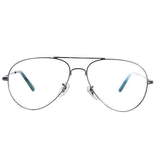 94bd51a5e6 Amazon.com  Pro Acme Non-Prescription Aviator Clear Lens Glasses ...