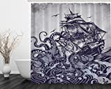 Ambesonne Kraken Shower Curtain Sail Boat Waves and Octopus Old Look Home Textile European Style Bathroom Decoration Decor Peculiar Design Hand Drawing Effect Fabric Shower Curtains (Blue)