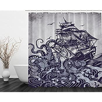 Ambesonne Kraken Shower Curtain Sail Boat Waves And Octopus Old Look Home Textile European Style Bathroom Decoration Decor Peculiar Design Hand Drawing