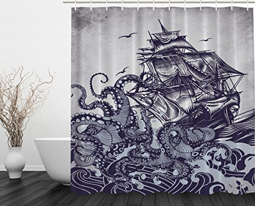 Kraken Shower Curtain Sail Boat Waves and Octopus Old Look Home Textile European Style Bathroom Decoration Decor Peculiar Design Hand Drawing Effect Fabric Shower Curtains (Blue) (Gifts Kraken)