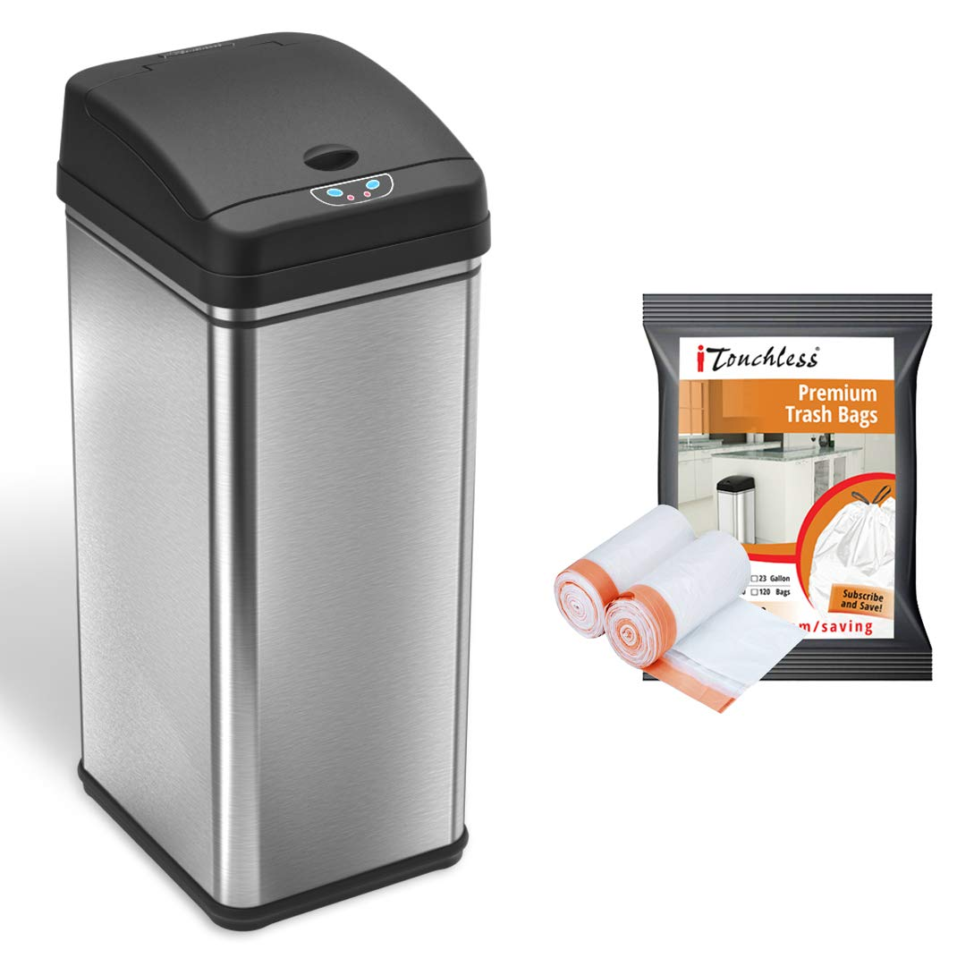 Itouchless 13 Gallon Automatic Trash Can With 10 Trash Bags Stainless Steel Big Lid Opening Touchless Sensor Kitchen Garbage Bin
