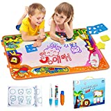 EpochAir Water Magic Drawing Painting Doodle Mat Aqua Writing Board with 6 Colors 2 Magic Pens and 1 Brush Large Size 86 x 57CM Drawing Handwriting Toys for Kids Girls Boys Toddlers