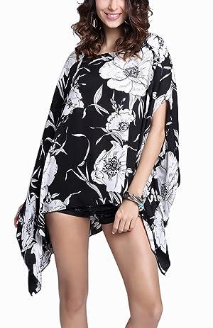 Wiwish Womens Floral Printed Chiffon Caftan Poncho Batwing Sleeve Tunic Top