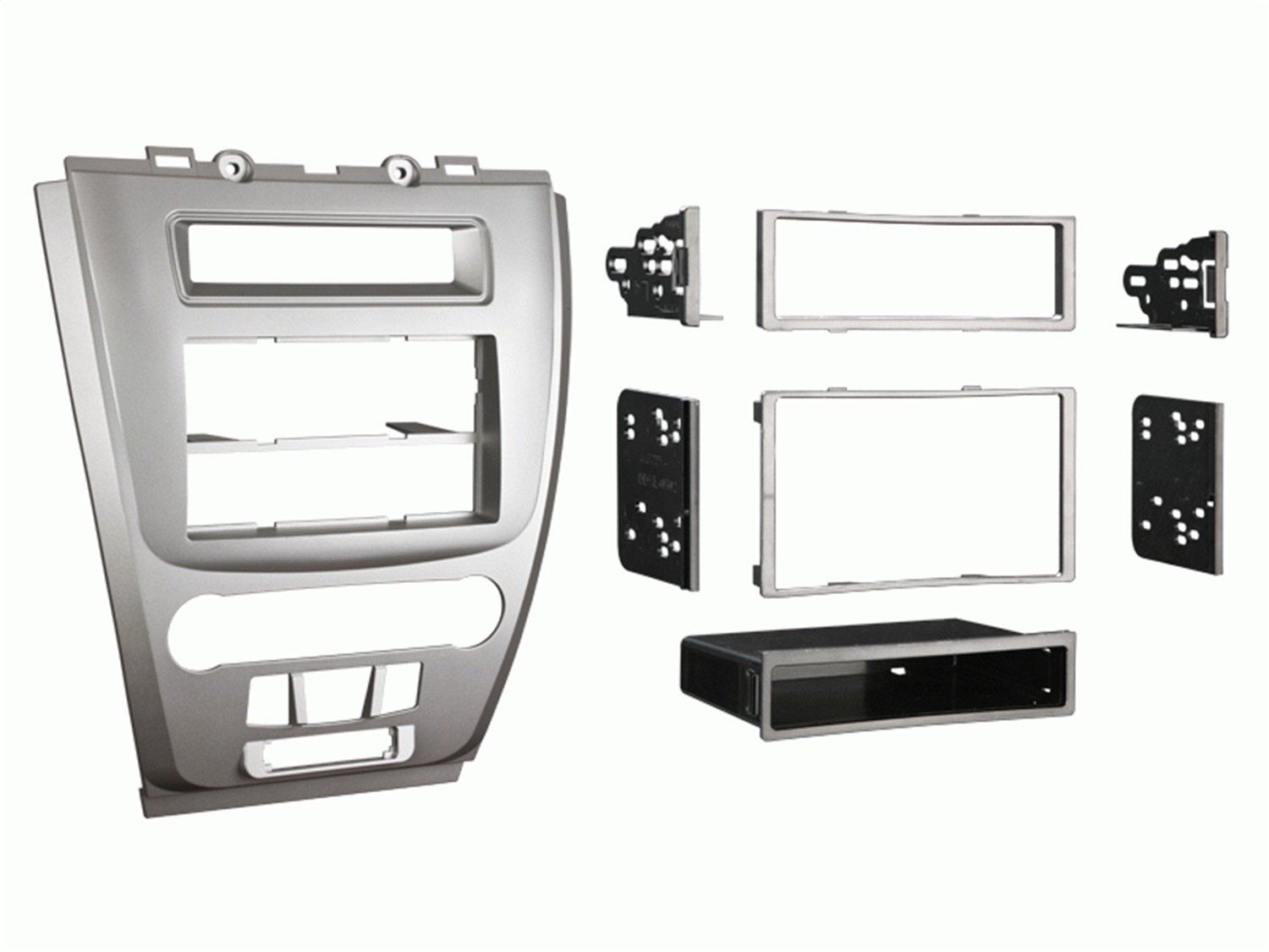Metra 99-5821S Single or Double DIN Installation Dash Kit for 2010 Ford Fusion and Mercury Milan, Silver