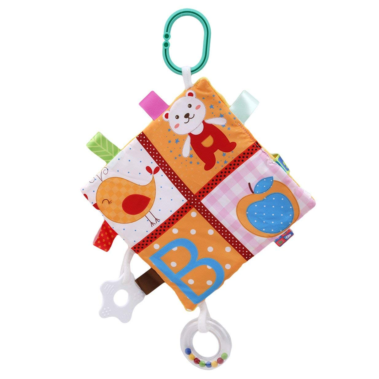 Xeminor Premium Baby Tag Taggy Blanket Comforter Plush Hanging Towel with Teether and Rattle, for Baby Girls Boys Beel with Teether Plush Toys for Baby Girls Boys Style 2