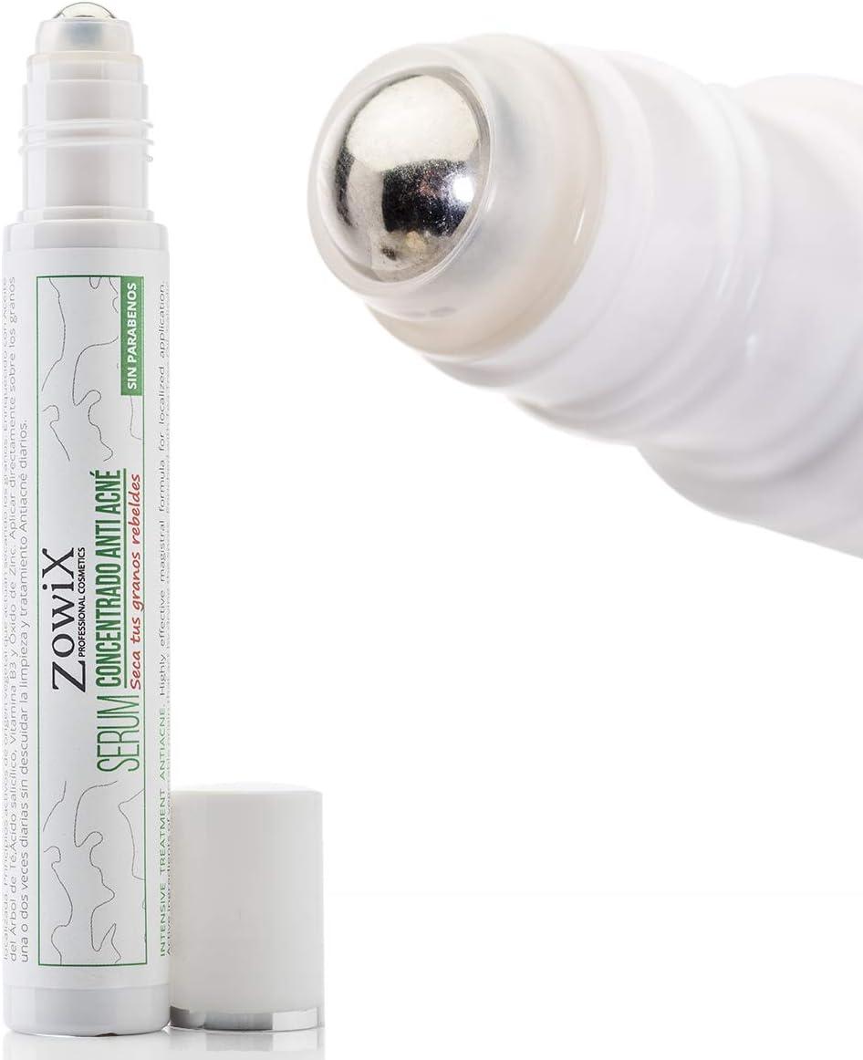 ZOWIX. Tratamiento Antiacne intensivo. Combate el Acne facial, eficaz con granos de la cara y espalda, espinillas y puntos negros. Roll on 25ml.