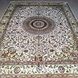 Yilong 9 x12  Handmade Silk Carpet Oriental Vintage Nain Medallion with Shah Abbassi Design Hand Knotted Area...