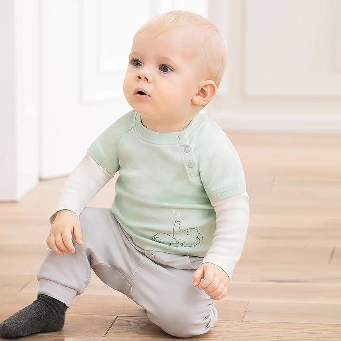 Bornino Hose mit Umschlagbund Mouse /& Elephant//Baby Bekleidung 100/% Baumwolle//Light Grey