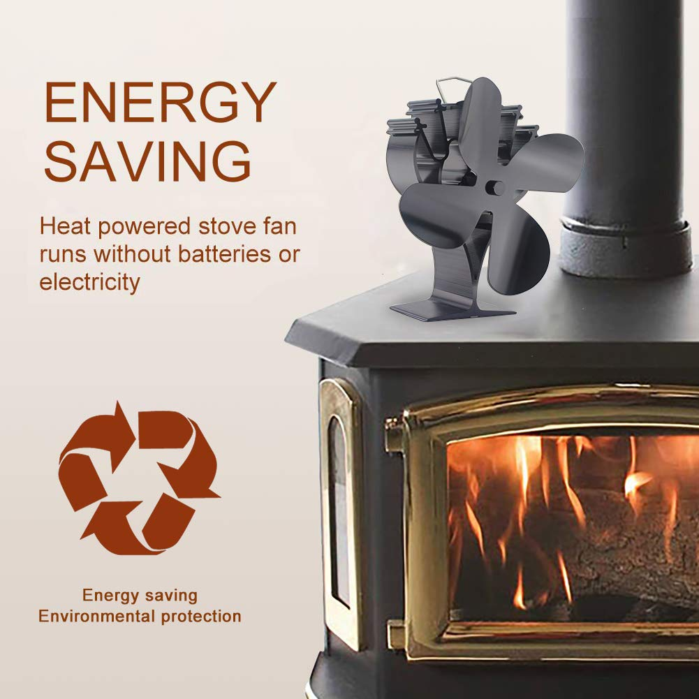 VODA Newly Upgrade 4 Blades Heat Powered Stove Eco Fan with Magnetic Thermometer for Wood Log Burner Fireplace by VODA