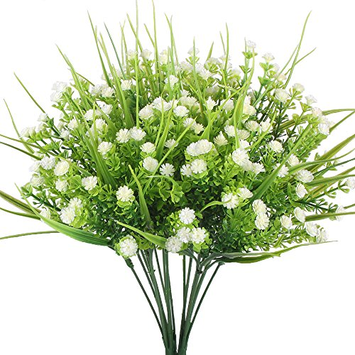 Artificial Plants, Hogado 4pcs Faux Baby's Breath Fake Gypsophila Shrubs Simulation Greenery Bushes Wedding Centerpieces Table Floral Arrangement Bouquet Filler White (Birthday Bouquet Spring)