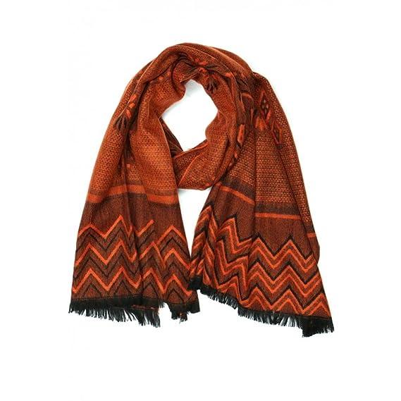 Nyls Création Grande écharpe femme orange et noir Patchay - Femme ... 43a25cf8154
