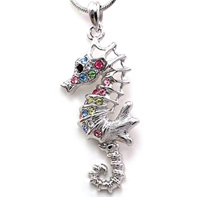 Amazon colorful seahorse sea horse charm pendant necklace pink colorful seahorse sea horse charm pendant necklace pink purple blue rhinestones animal jewelry aloadofball Image collections