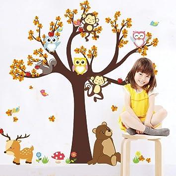 FACAI Wandtattoo Grosser Baum With Owl Affe Bar Elch Frohliche Tiere Kinderzimmer Deko DIY Wand