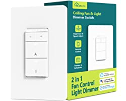 Smart Ceiling Fan Control and Dimmer Light Switch, Neutral Wire Needed, Treatlife 2.4Ghz Single Pole Wi-Fi Fan and Light Swit