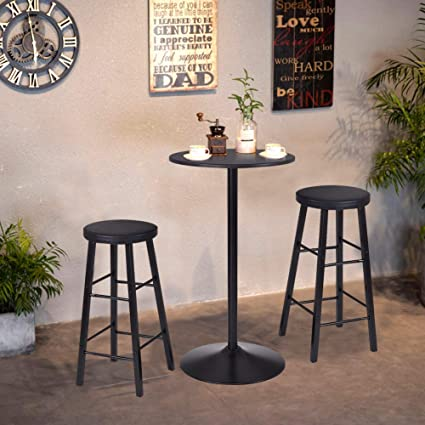 WATERJOY 3 Piece Wood Round Bar Table Set 41.8u0026quot; Pub Table With  26.8u0026quot; Height