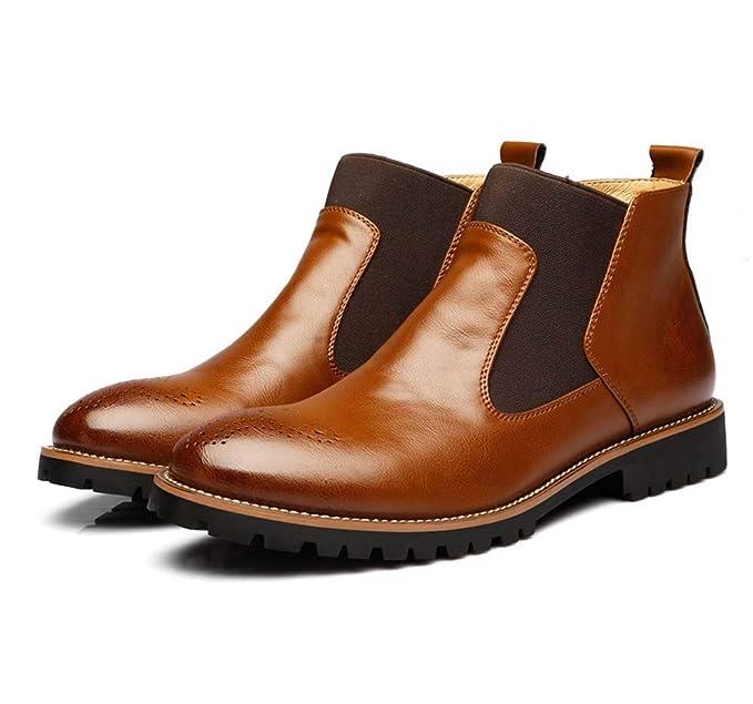 Hombres cuero Chelsea Martin botines Brogues negocios comerciante vestido zapatos con piel invierno otoño negro marrón botas modernas zapatos: Amazon.es: ...
