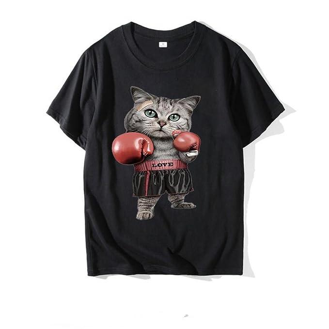 Camiseta Ocasional Gato Boxeo 3D algodón Estampado de Manga Corta Camiseta Animales de la Historieta Linda de Primavera y Verano de los Hombres: Amazon.es: ...