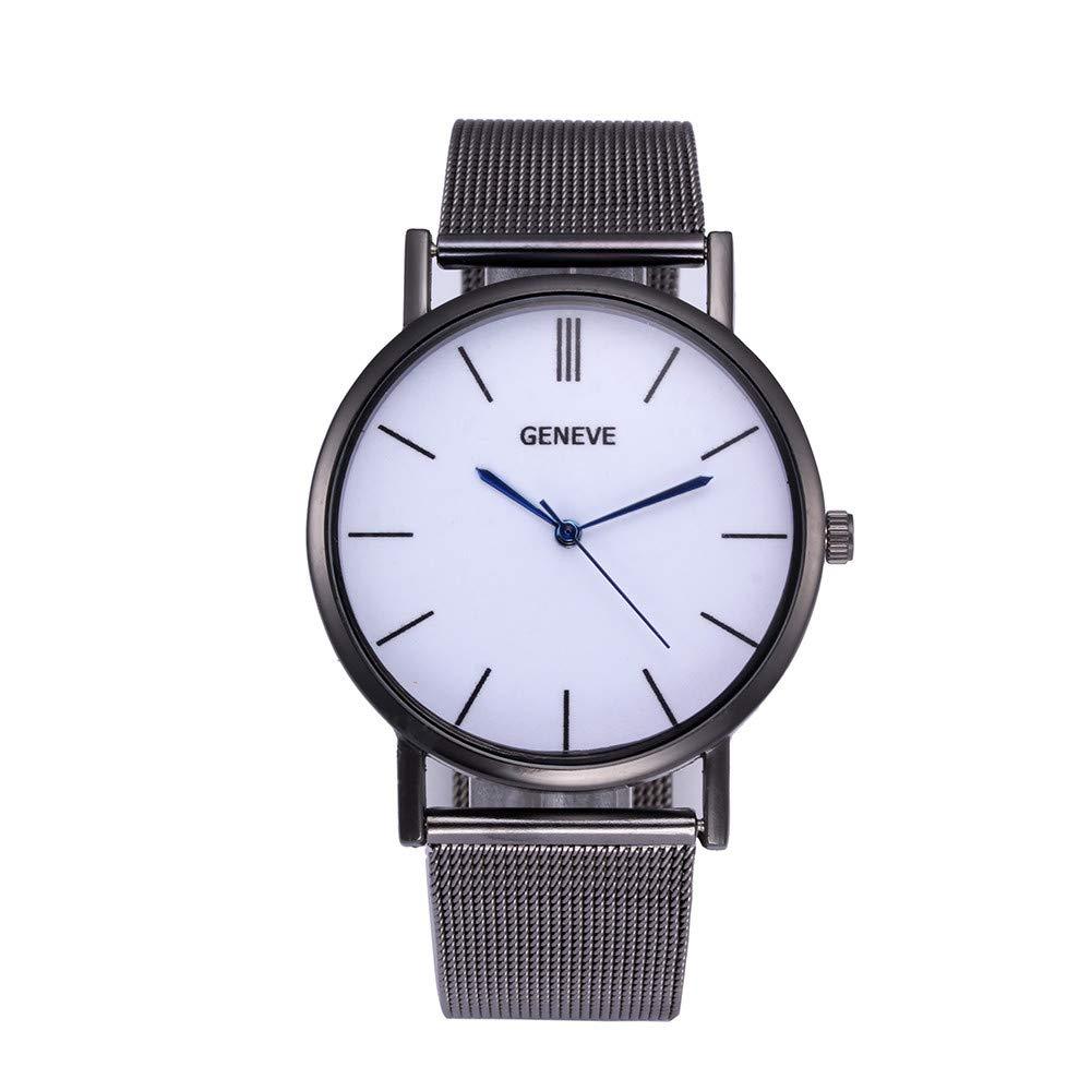 Women's Wrist Watches Iuhan New Women Watch Stainless Steel Clock Male Quartz Mesh Belt Casual Wristwatch (Black)