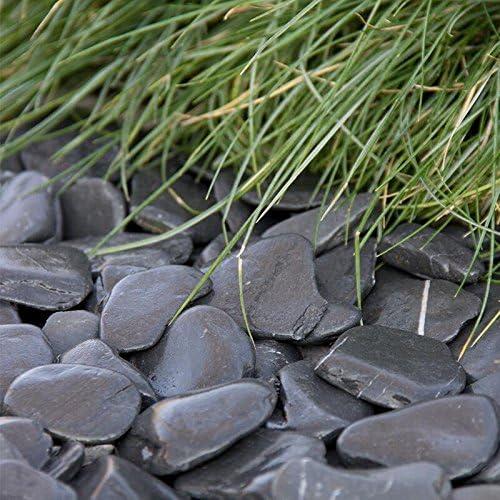 Flat Pebbles Negro, 30 – 60 mm, especialmente atractiva dunkelgrauer hasta beinah Negro Ornamentales Grava, pizarra plana piedra con esquinas redondeadas, decorativo Grava para el jardín, saco de 20 kg, piedras: Amazon.es: Jardín
