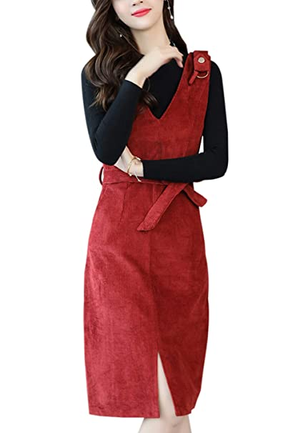 29fd79b67b Gihuo Women s Slim Fit V-Neck Corduroy Pinafore Overall Dress with Waist  Belt at Amazon Women s Clothing store