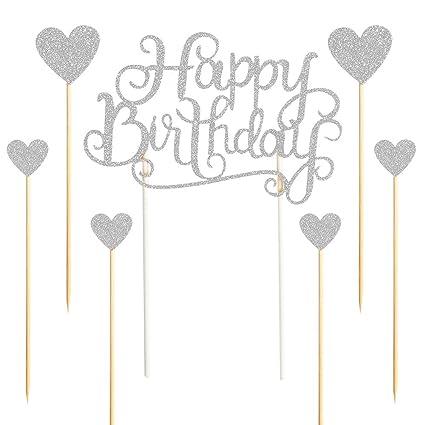 Amazon.com: palasasa Feliz cumpleaños Cake Toppers Plata ...